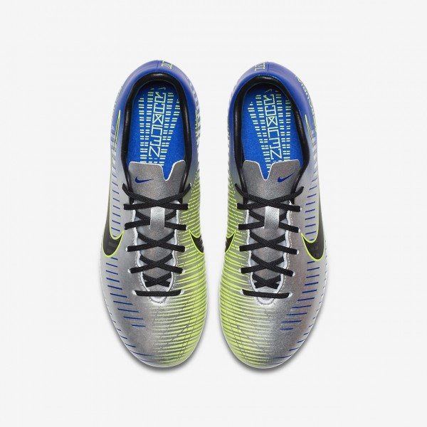 Nike Jr. Mercurial Victory VI Neymar Fg Fußballschuhe Mädchen Blau Silber Grün Schwarz 355-13154