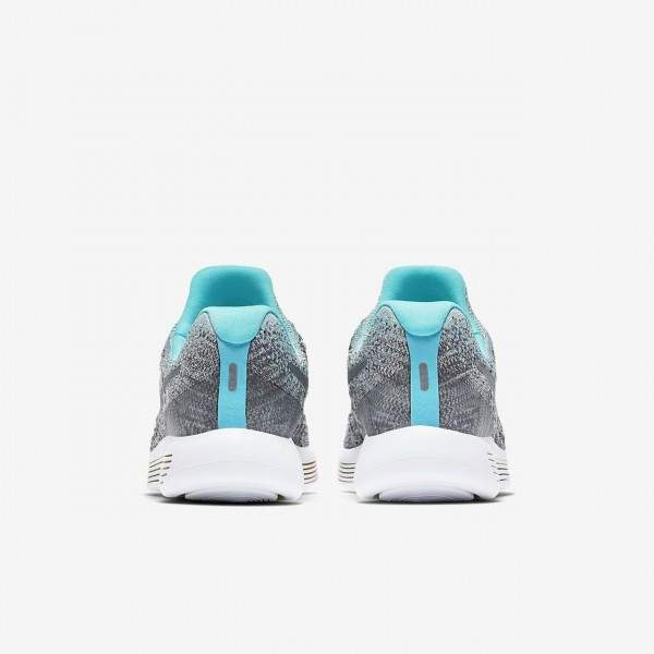 Nike Lunarepic low Flyknit 2 Laufschuhe Mädchen Grau Blau Grün Metallic Silber 873-93813