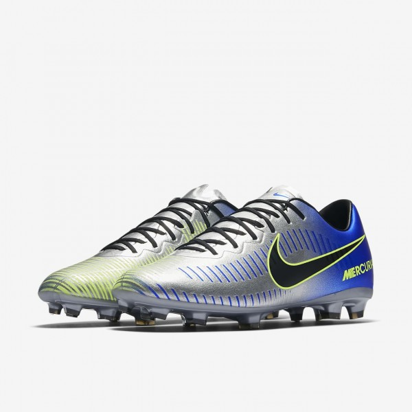 Nike Jr. Mercurial Vapor XI Neymar Fg Fußballschuhe Mädchen Blau Silber Grün Schwarz 577-59741