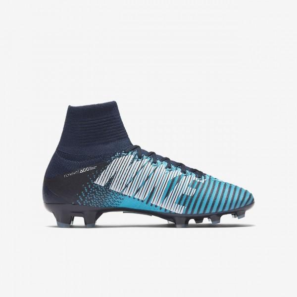 Nike Jr. Mercurial Superfly V Dynamic Fit Fg Fußballschuhe Mädchen Obsidian Blau Weiß 846-77043