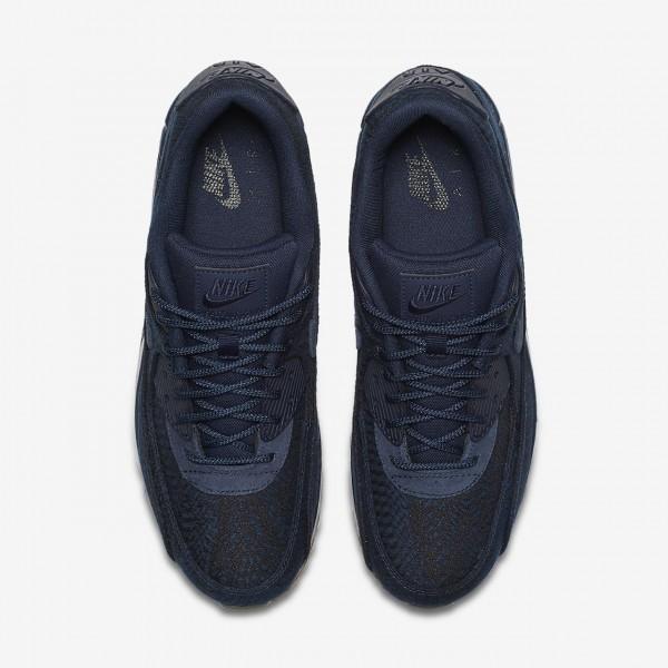 Nike Air Max 90 Premium Indigo Freizeitschuhe Herren Blau Obsidian Navy 671-71529