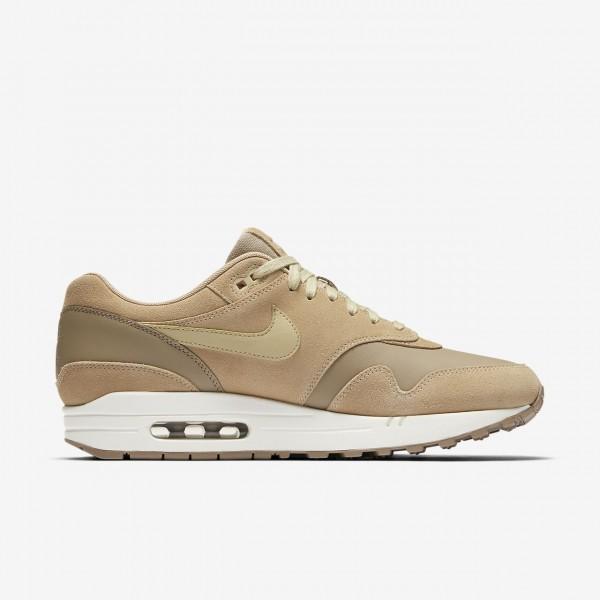 Nike Air Max 1 Premium Freizeitschuhe Herren Khaki Beige Weiß Gold 543-23677