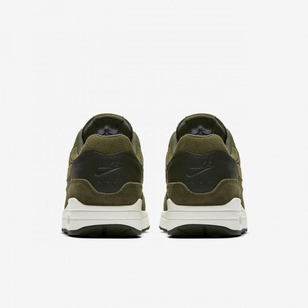 Nike Air Max 1 Premium Freizeitschuhe Herren Dunkelolive Khaki Weiß Grau 121-67923