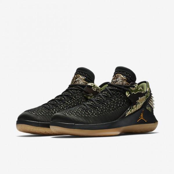Nike Air Jordan XXXII low Basketballschuhe Herren Schwarz Weiß Metallic Gold 868-65092