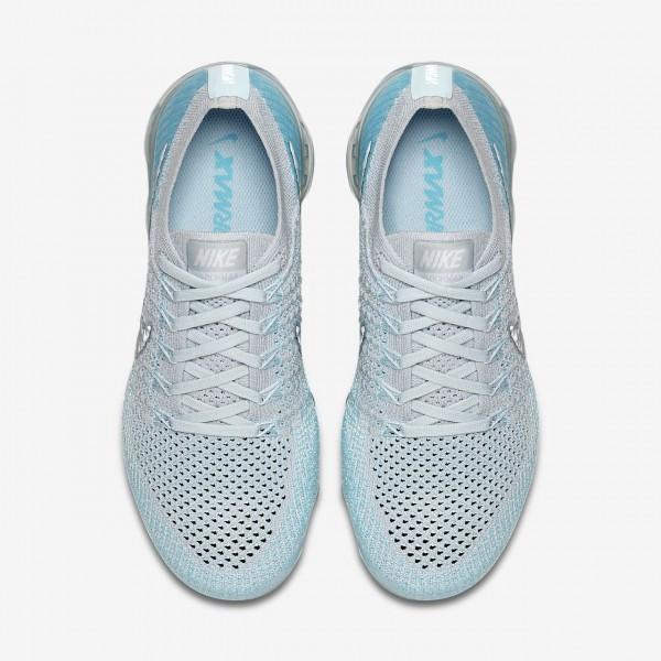 Nike Air Vapormax Flyknit Laufschuhe Damen Platin Blau Metallic Silber 896-66971