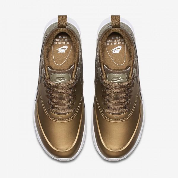 Nike Air Max Thea Premium Freizeitschuhe Damen Metallic Gold Weiß 533-49930