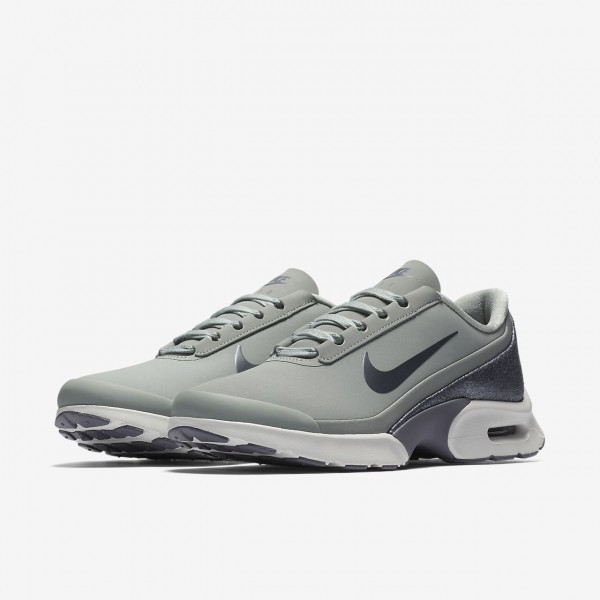 Nike Air Max Jewell Leder Freizeitschuhe Damen Dunkelsilber Hellgrau Weiß Metallic Grau 341-98837