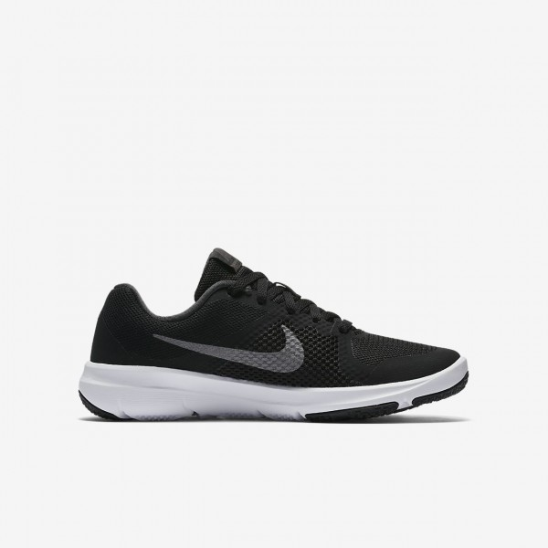 Nike Flex Tr Control Trainingsschuhe Jungen Schwarz Weiß Metallic Dunkelgrau 807-73969