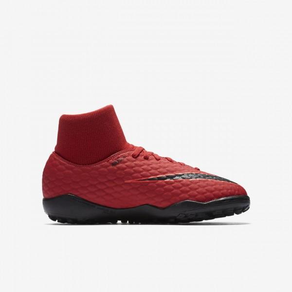 Nike Jr. Hypervenomx Phelon III Dynamic Fit Tf Fußballschuhe Mädchen Rot Schwarz 525-46589