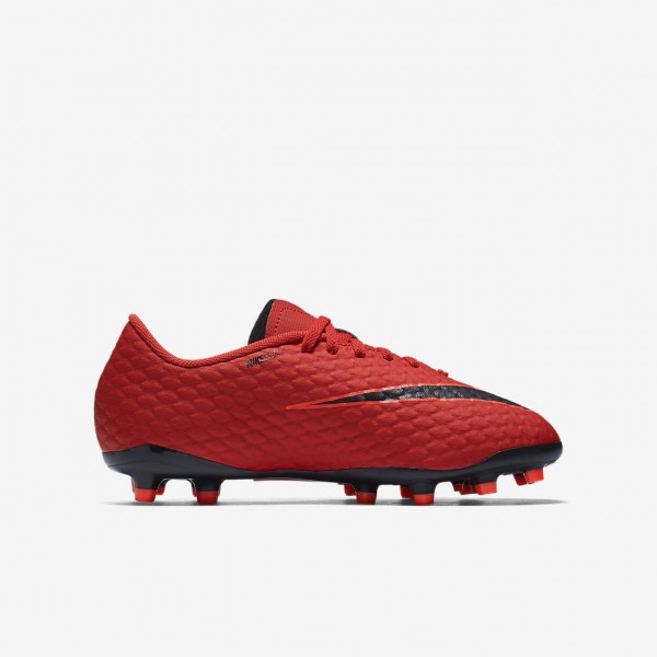 Nike Jr. Hypervenom Phelon 3 Fg Fußballschuhe Mädchen Rot Schwarz 441-10245