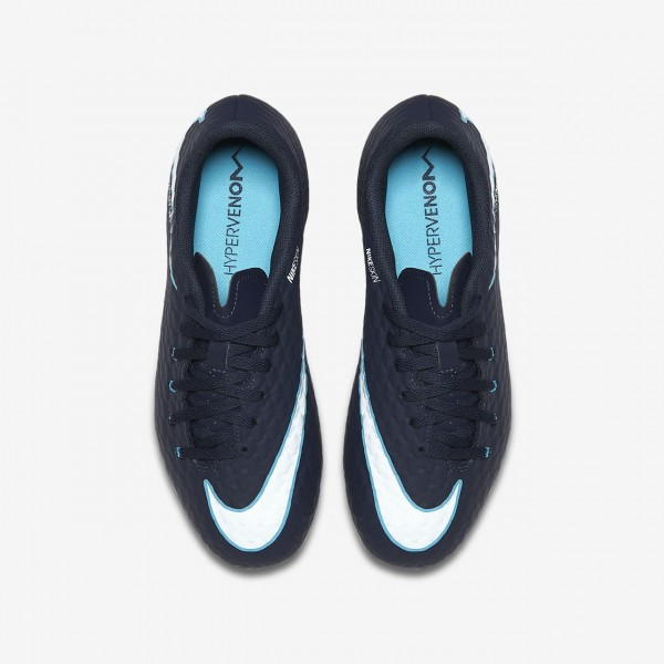 Nike Jr. Hypervenom Phelon 3 Fg Fußballschuhe Mädchen Obsidian Blau Weiß 920-42726