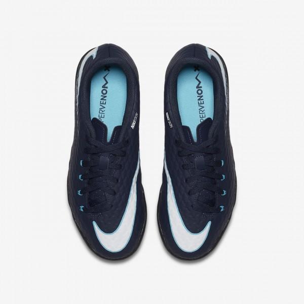 Nike Jr. Hypervenomx Phelon 3 Tf Fußballschuhe Mädchen Obsidian Blau Weiß 940-92585