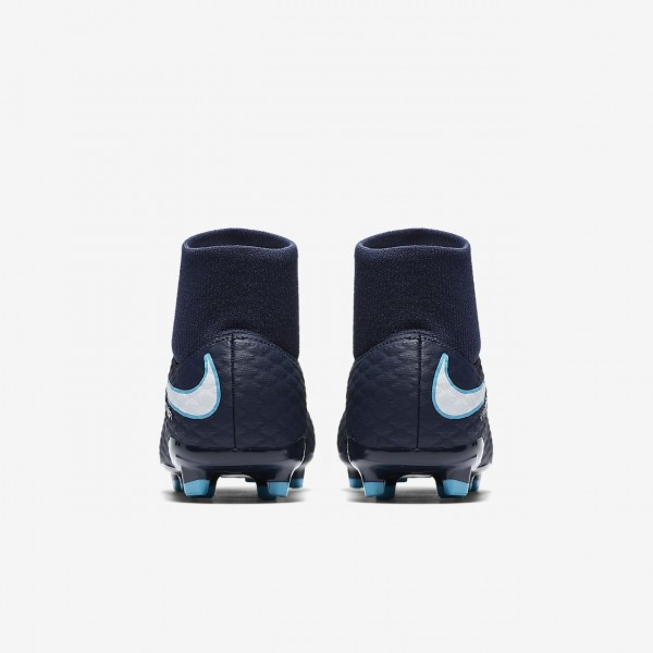 Nike Jr. Hypervenom Phelon III Dynamic Fit Fg Fußballschuhe Mädchen Obsidian Blau Weiß 637-44540