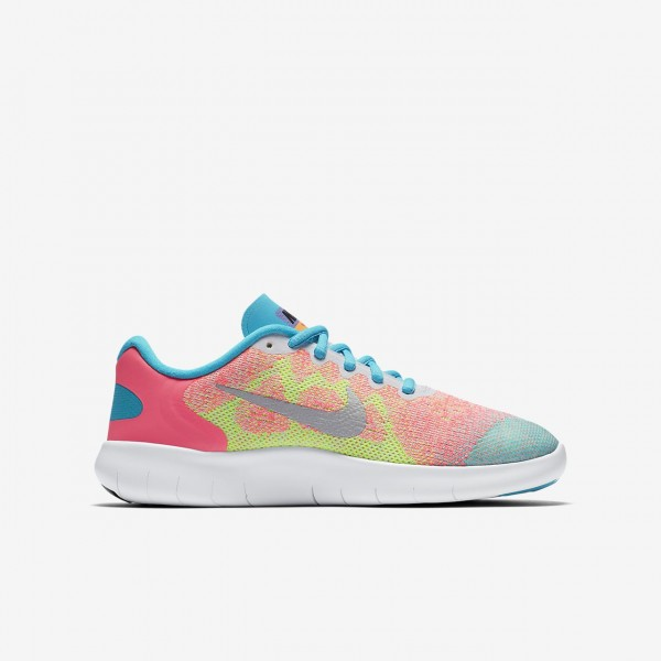 Nike Free Rn 2017 Laufschuhe Mädchen Weiß Blau Pink Metallic Silber 284-85775