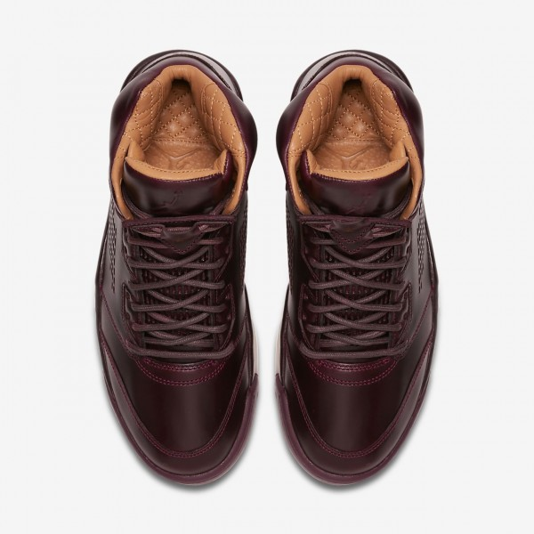 Nike Air Jordan 5 Retro Premium Freizeitschuhe Herren Bordeaux Weiß Gold 156-13877