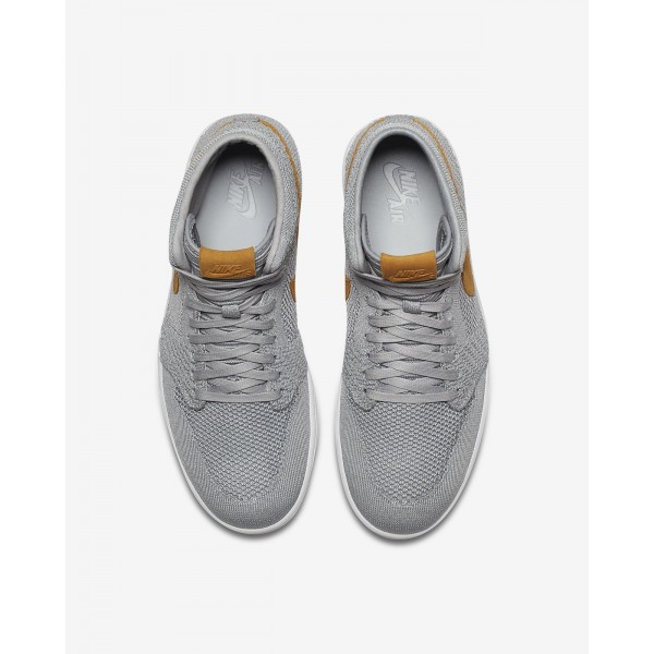 Nike Air Jordan 1 Retro high Flyknit Freizeitschuhe Herren Grau Gelb Weiß Gold 514-83941