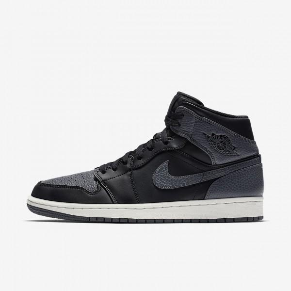 Nike Air Jordan 1 Mid Freizeitschuhe Herren Schwar...