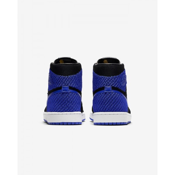 Nike Air Jordan 1 Retro high Flyknit Freizeitschuhe Herren Schwarz Weiß Königsblau 969-55935