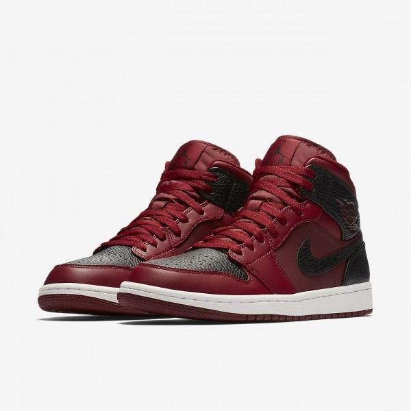 Nike Air Jordan 1 Mid Freizeitschuhe Herren Rot Weiß Rot 793-28613