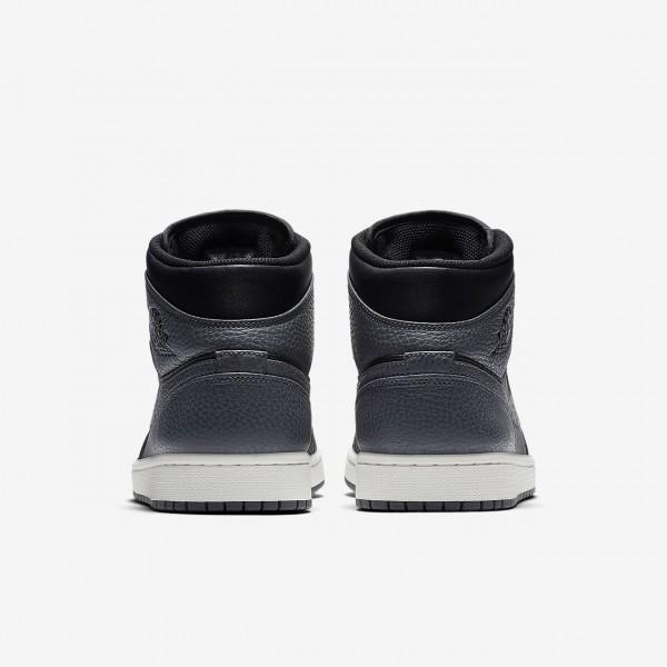 Nike Air Jordan 1 Mid Freizeitschuhe Herren Schwarz Weiß Dunkelgrau 479-20881