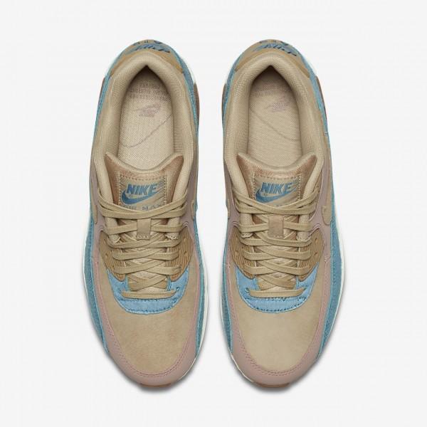 Nike Air Max 90 Lx Freizeitschuhe Damen Beige Blau Pink 582-49608