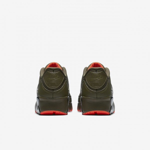Nike Air Max 90 Ultra 2.0 Le Freizeitschuhe Jungen Olive Rot Orange 456-63736