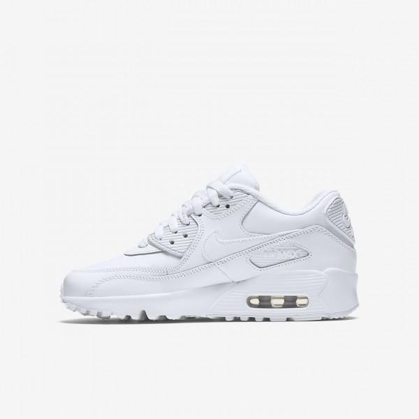 Nike Air Max 90 Leder Freizeitschuhe Jungen Weiß 778-71481