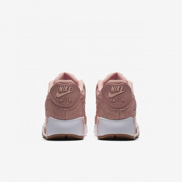 Nike Air Max 90 Se Leder Freizeitschuhe Jungen Rosa Weiß Hellbraun Pink 930-14770