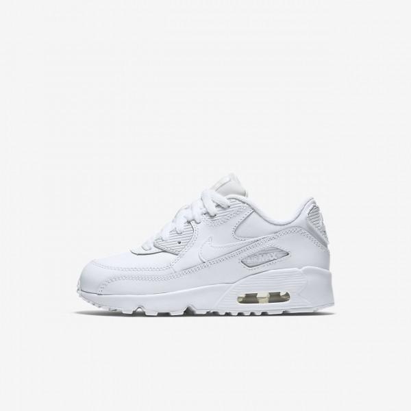 Nike Air Max 90 Leder Freizeitschuhe Jungen Weiß ...