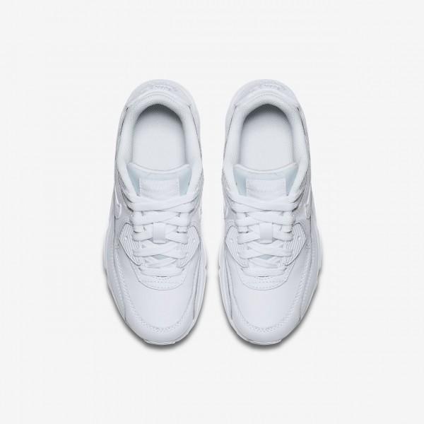 Nike Air Max 90 Leder Freizeitschuhe Jungen Weiß 304-87643