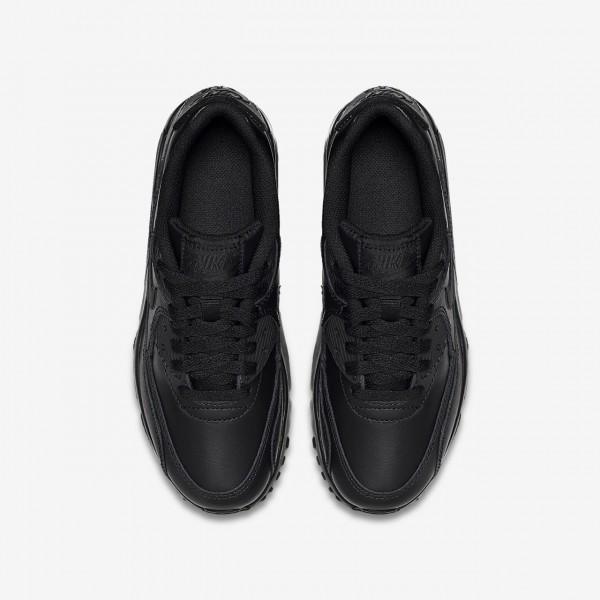 Nike Air Max 90 Leder Freizeitschuhe Jungen Schwarz 302-11152