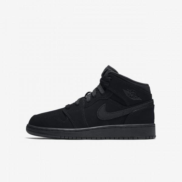 Nike Air Jordan 1 Mid Outdoor Schuhe Jungen Schwar...