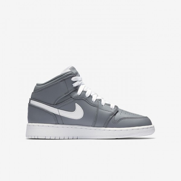 Nike Air Jordan 1 Mid Outdoor Schuhe Jungen Grau Weiß 242-83978