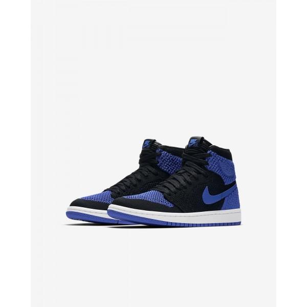 Nike Air Jordan 1 Retro high Flyknit Freizeitschuhe Jungen Schwarz Weiß Königsblau 440-36674