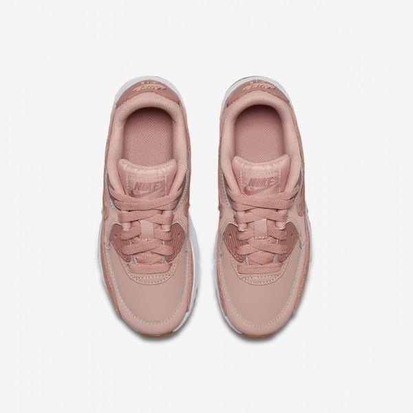 Nike Air Max 90 Se Leder Freizeitschuhe Mädchen Rosa Weiß Hellbraun Pink 792-62166