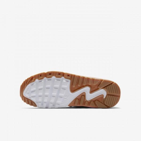 Nike Air Max 90 Se Leder Freizeitschuhe Mädchen Rosa Weiß Hellbraun Pink 419-65847