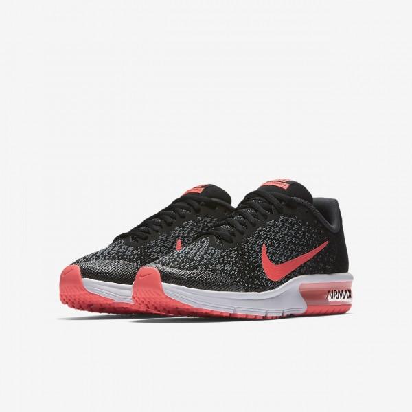 Nike Air Max Sequent 2 Laufschuhe Mädchen Schwarz Grau Pink 594-99009