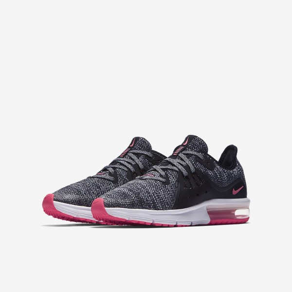 Nike Air Max Sequent 3 Laufschuhe Mädchen Schwarz Grau Pink 668-18982