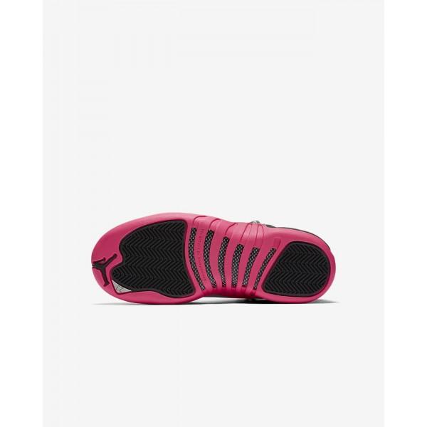 Nike Air Jordan 12 Retro Outdoor Schuhe Mädchen Schwarz Metallic Silber Rosa 295-38911