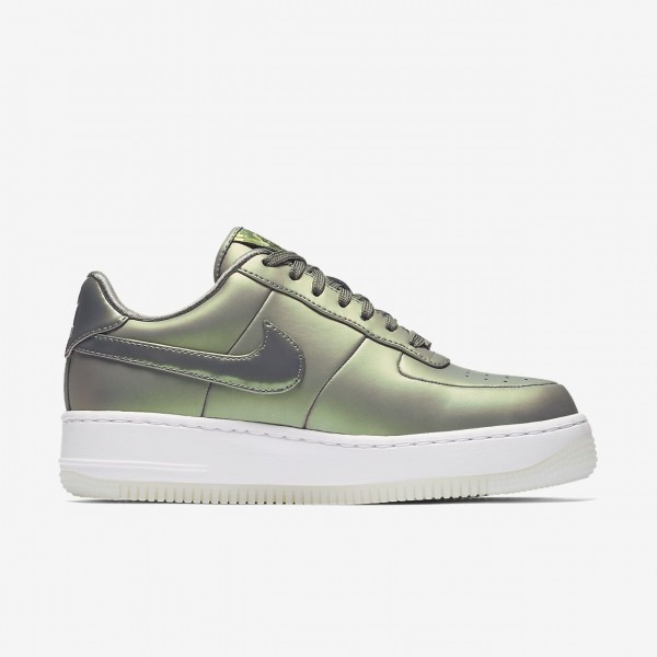 Nike Air Force 1 Upstep Premium Lx Freizeitschuhe Damen Dunkelolive Weiß 354-87318