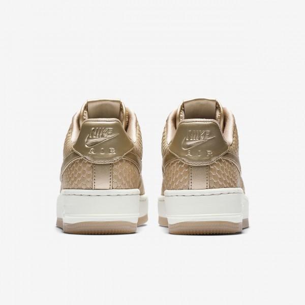 Nike Air Force 1 Upstep Premium Freizeitschuhe Damen Hellbraun Weiß 832-60110