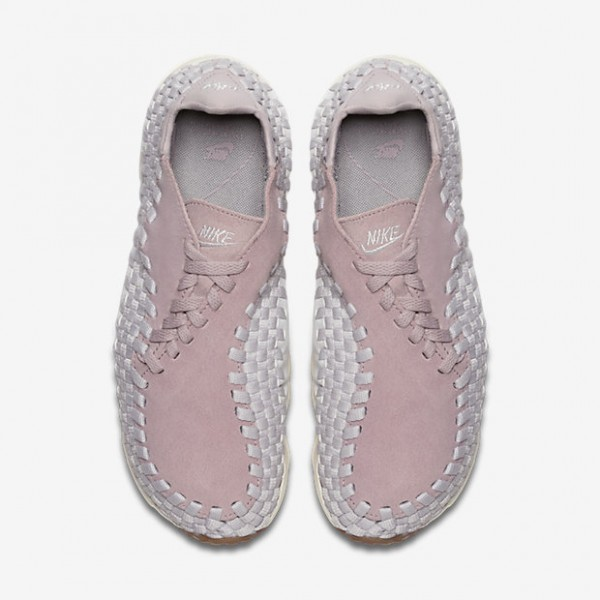 Nike Air Footscape Woven Freizeitschuhe Damen Rosa Weiß Hellbraun Grau 627-89283