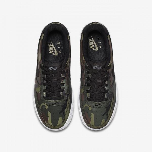 Nike Air Force 1 Lv8 Freizeitschuhe Jungen Olive Braun Weiß Schwarz 610-74287