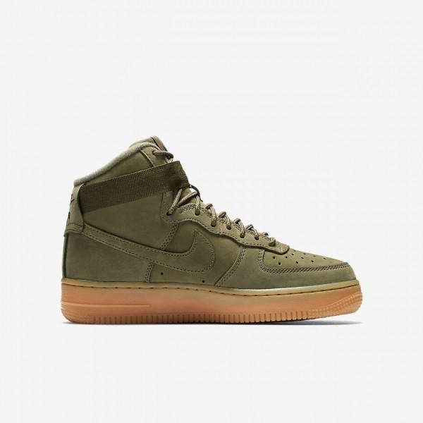Nike Air Force 1 high Wb Freizeitschuhe Mädchen Olive Hellbraun Schwarz 437-75310