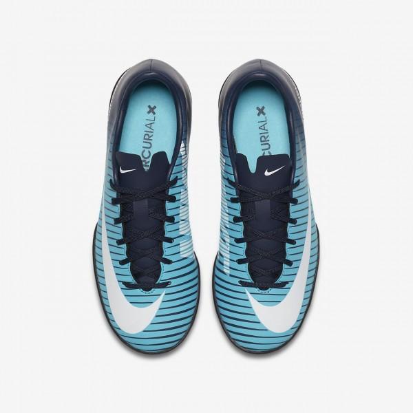Nike Jr. Mercurial Victory VI Tf Fußballschuhe Jungen Obsidian Blau Weiß 374-49729