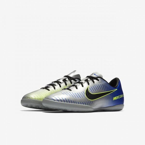 Nike Jr. Mercurialx Victory VI Neymar Ic Fußballschuhe Jungen Blau Silber Grün Schwarz 688-61207