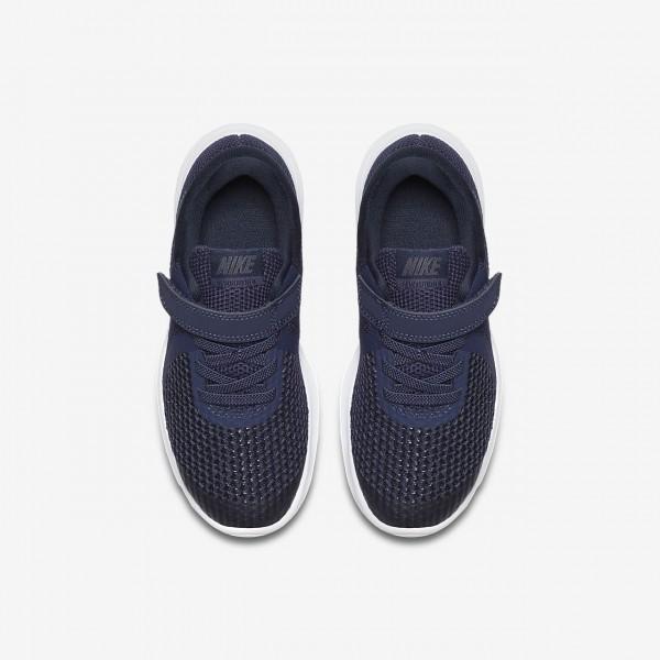 Nike Revolution 4 Laufschuhe Mädchen Blau Obsidian Schwarz Weiß 470-39340