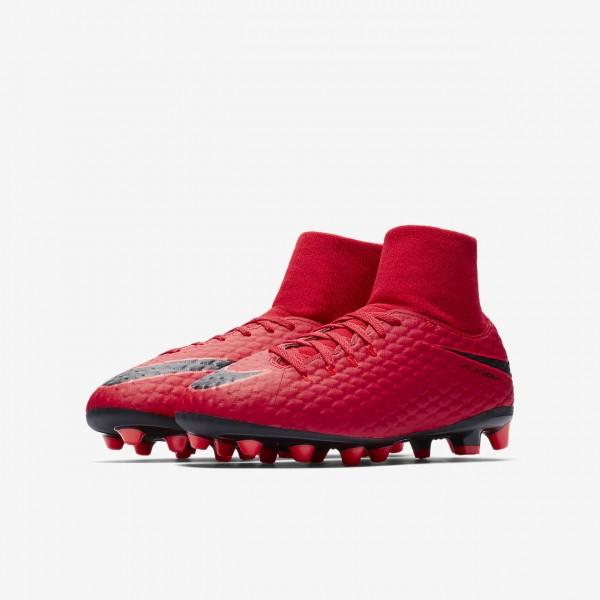 Nike Jr. Hypervenom Phelon III Dynamic Fit Ag-pro Fußballschuhe Mädchen Rot Schwarz 494-65288